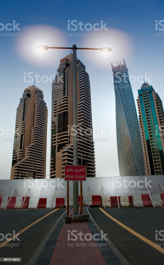 road closed sign and roadblock at Dubai Marina. stock photo