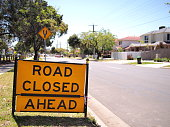 Road closed sign in a residetial area