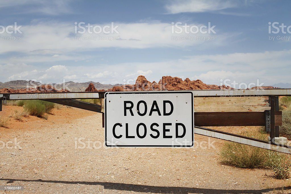 Road closed sign in desert royalty-free stock photo