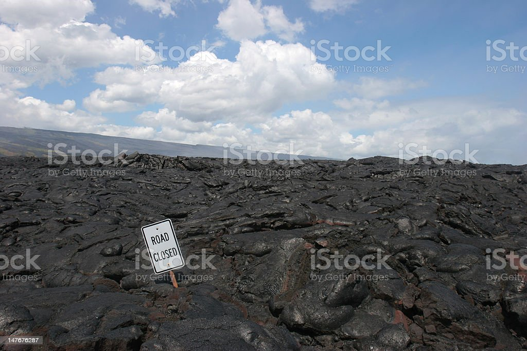 Road Closed Sign In Lava royalty-free stock photo