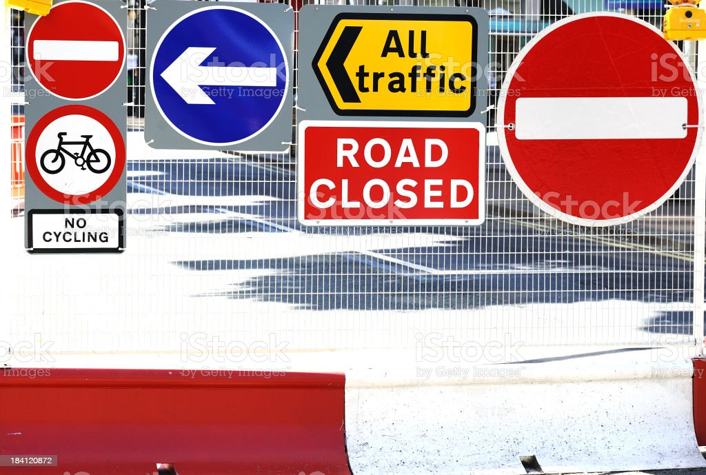 Road closed sign in London stock photo