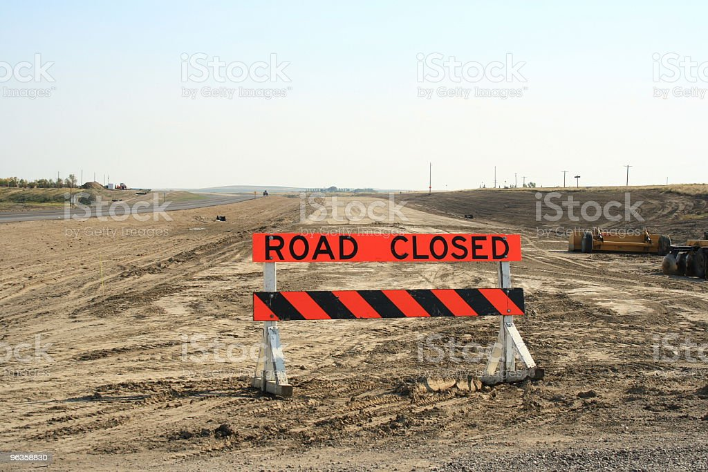 Road Closed -  sign on a construction site stock photo