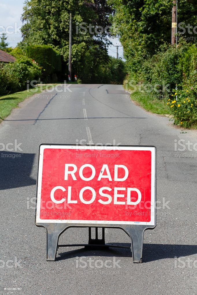 Road closed sign stock photo