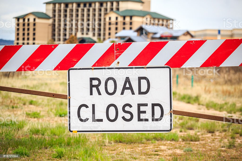 Road closed sign, USA stock photo