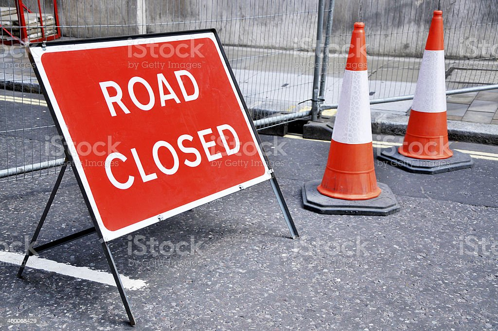 Road Closed Sign With Cones stock photo