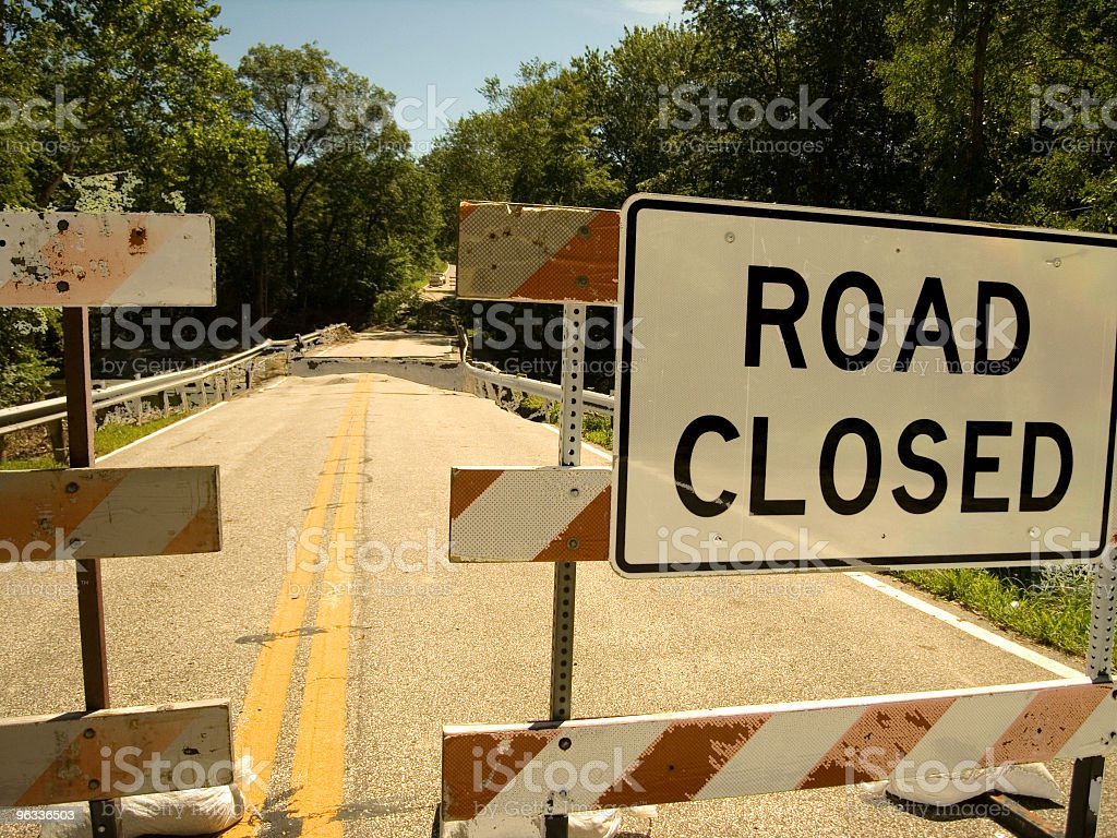 Road Closed Signage stock photo