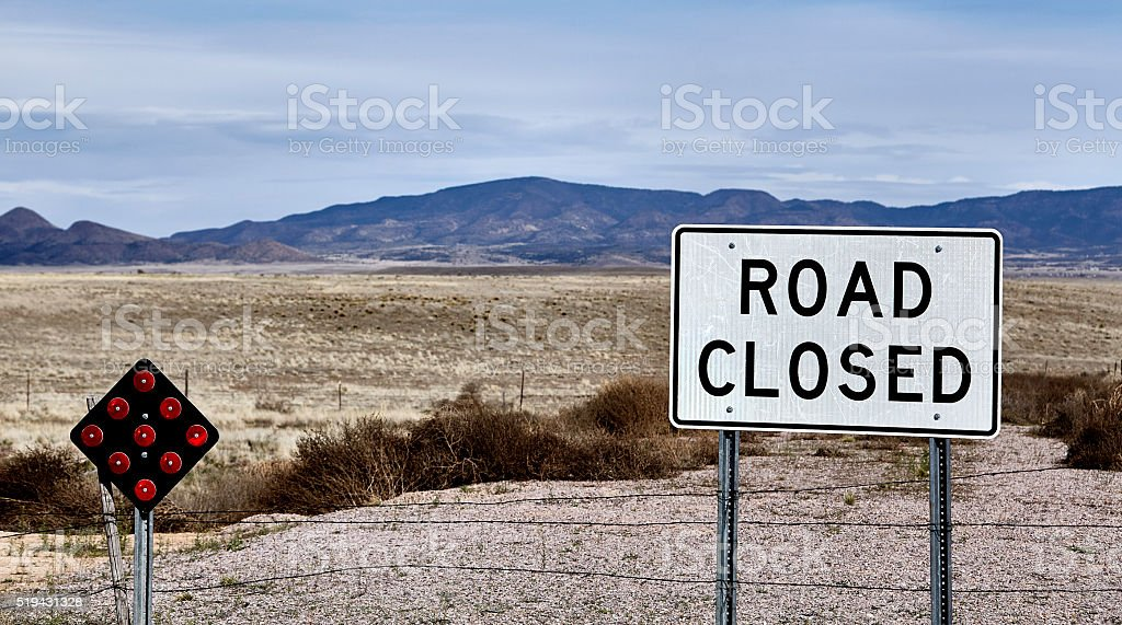 Road Closed street highway sign country landscape stock photo