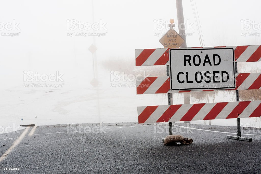 Road Closed - Water Over Roadway stock photo