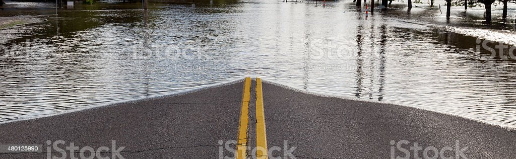 Road Closure From Flooding stock photo