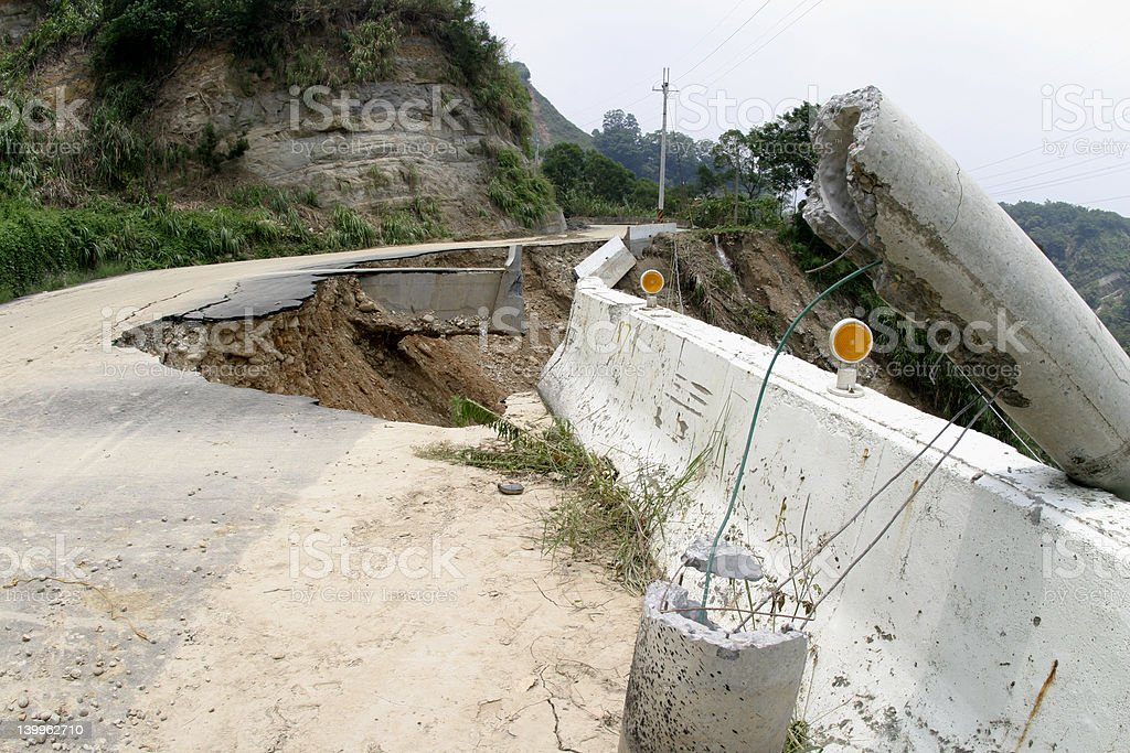 Road collapse royalty-free stock photo