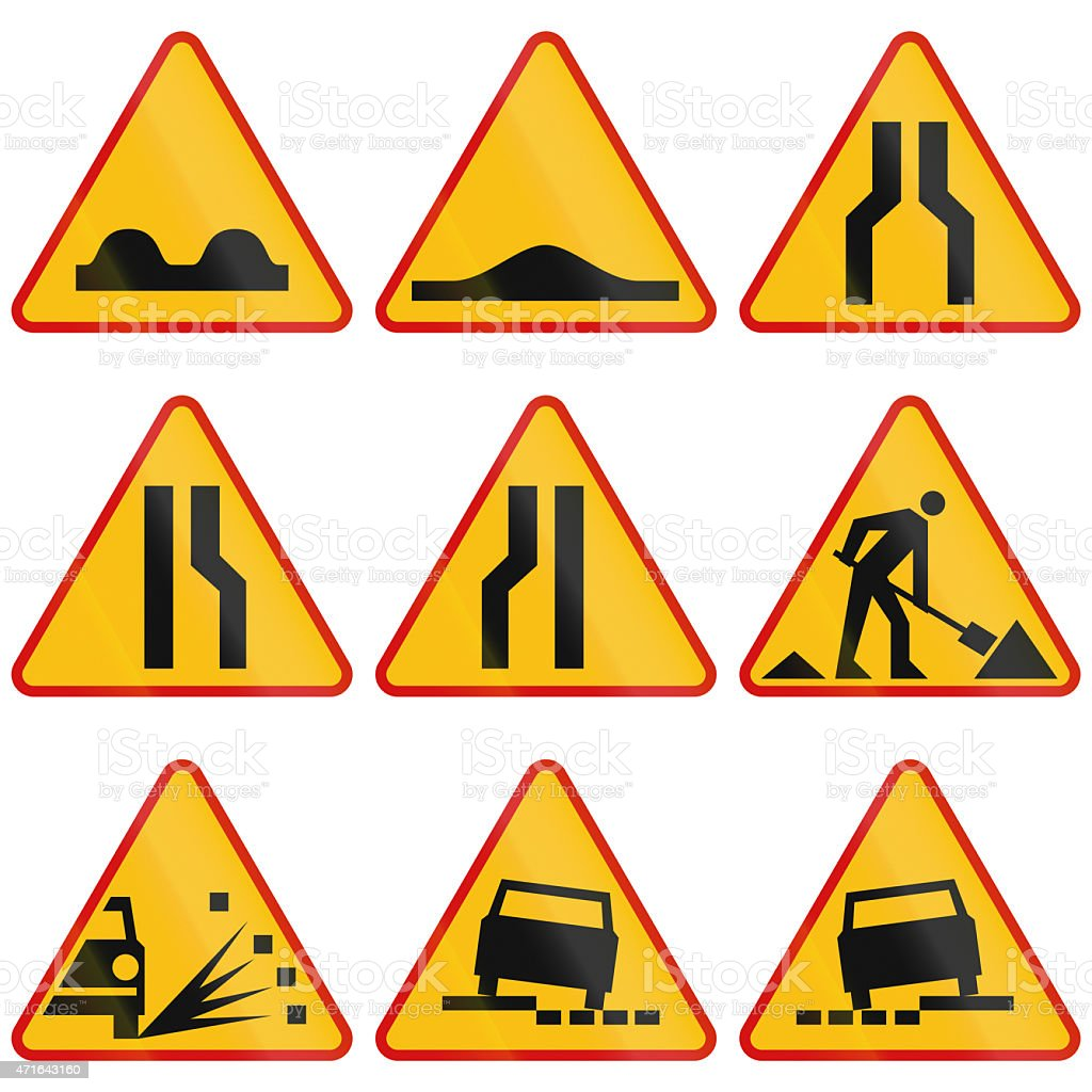 Road Condition Warning Signs In Poland stock photo