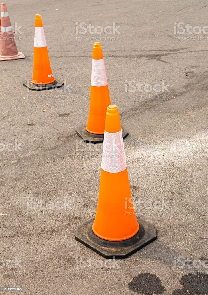 road cone on the asphalt stock photo