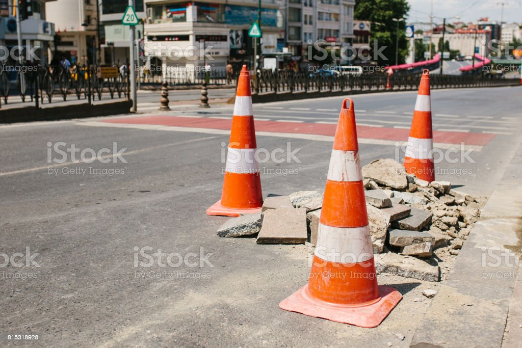 Road cone on the road. Road sign. Road works on the streets of Istanbul in Turkey. Sign. Road traffic. stock photo