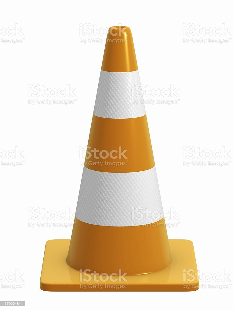 Road Cone with reflective bands stock photo