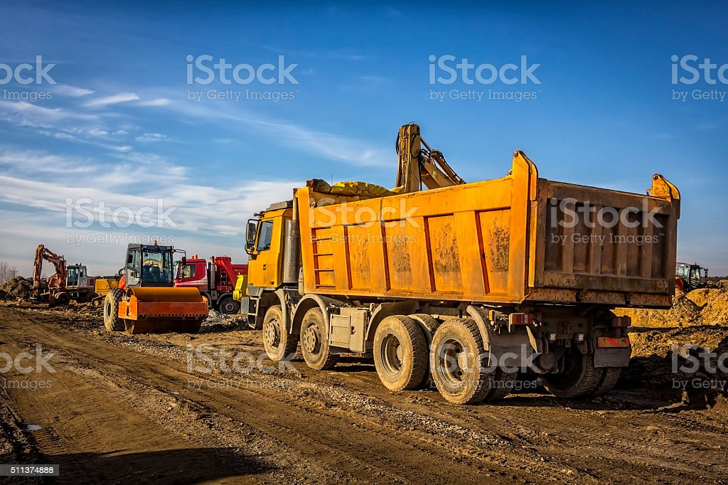 Road constraction machinery stock photo