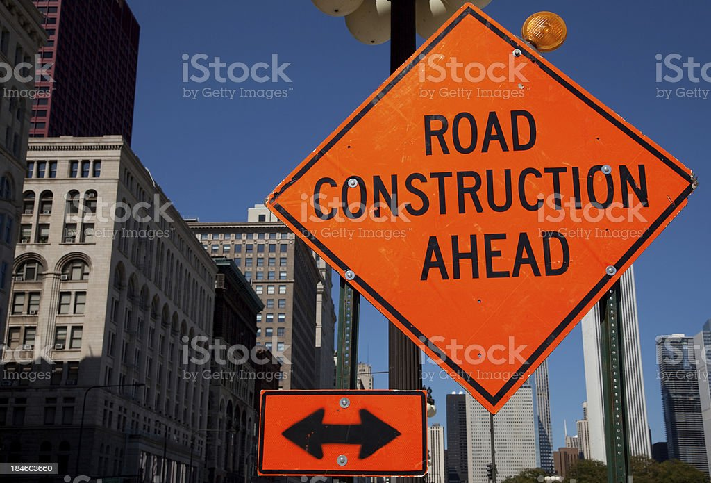 Road construction ahead sign stock photo