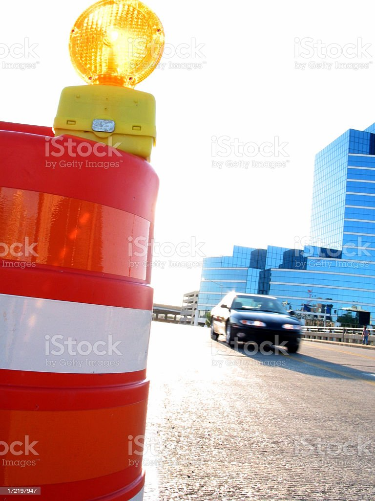 Road Construction and Car royalty-free stock photo