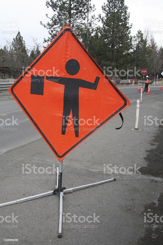 Road Construction Flagger stock photo