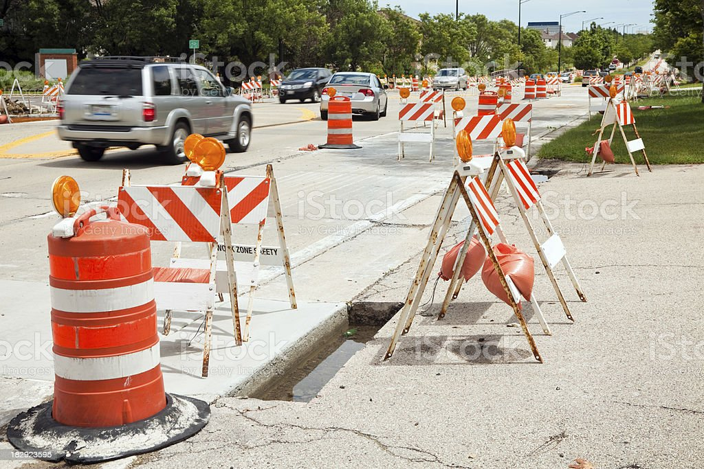 Road Construction in Suburban Chicago stock photo