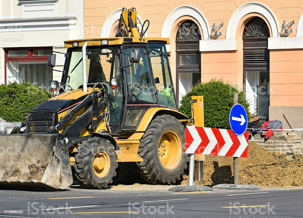 Road construction in the city stock photo