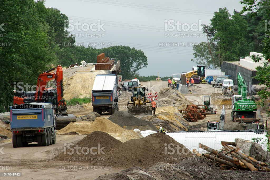 Road construction in the country stock photo