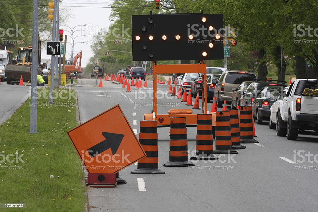Road Construction, Keep Right royalty-free stock photo