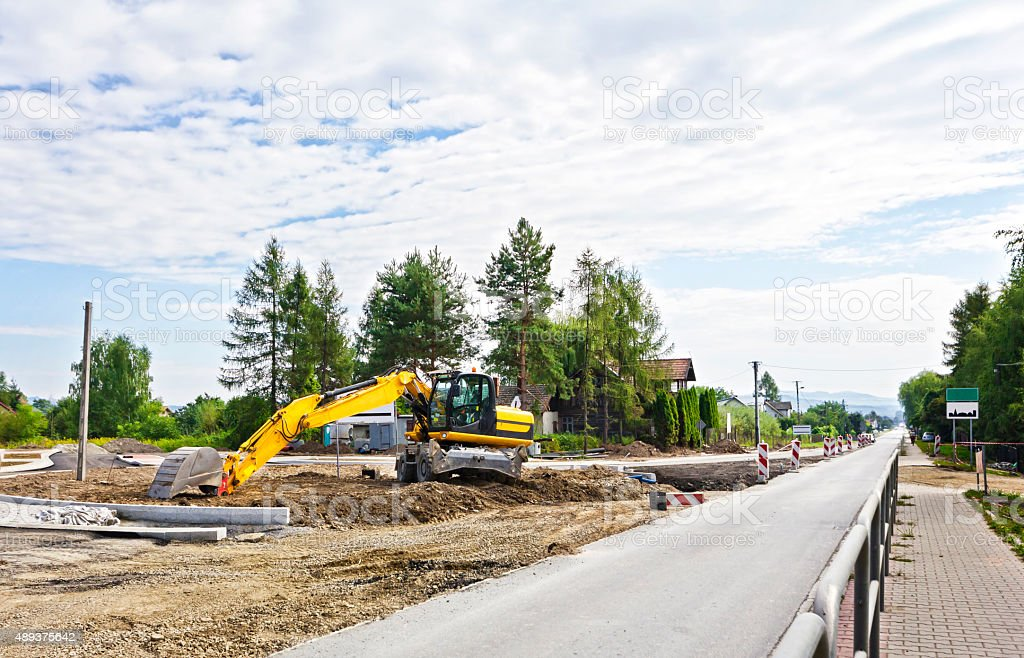 Road construction machine stock photo