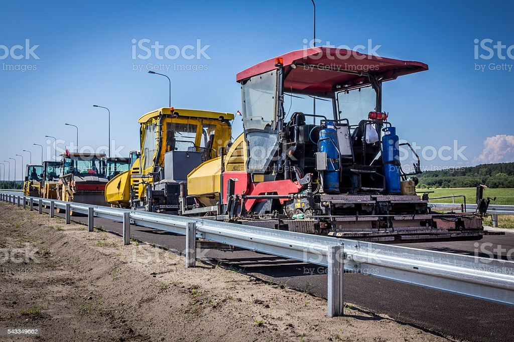 Road construction machines on Highway S3, Poland stock photo