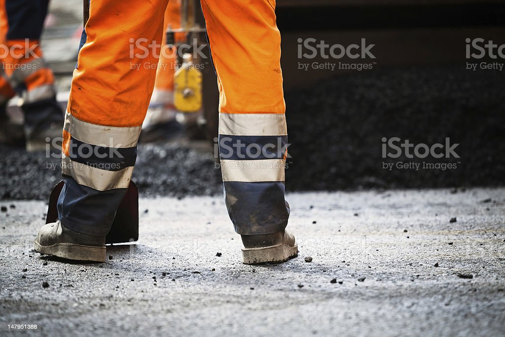 Road construction, new asphalt stock photo