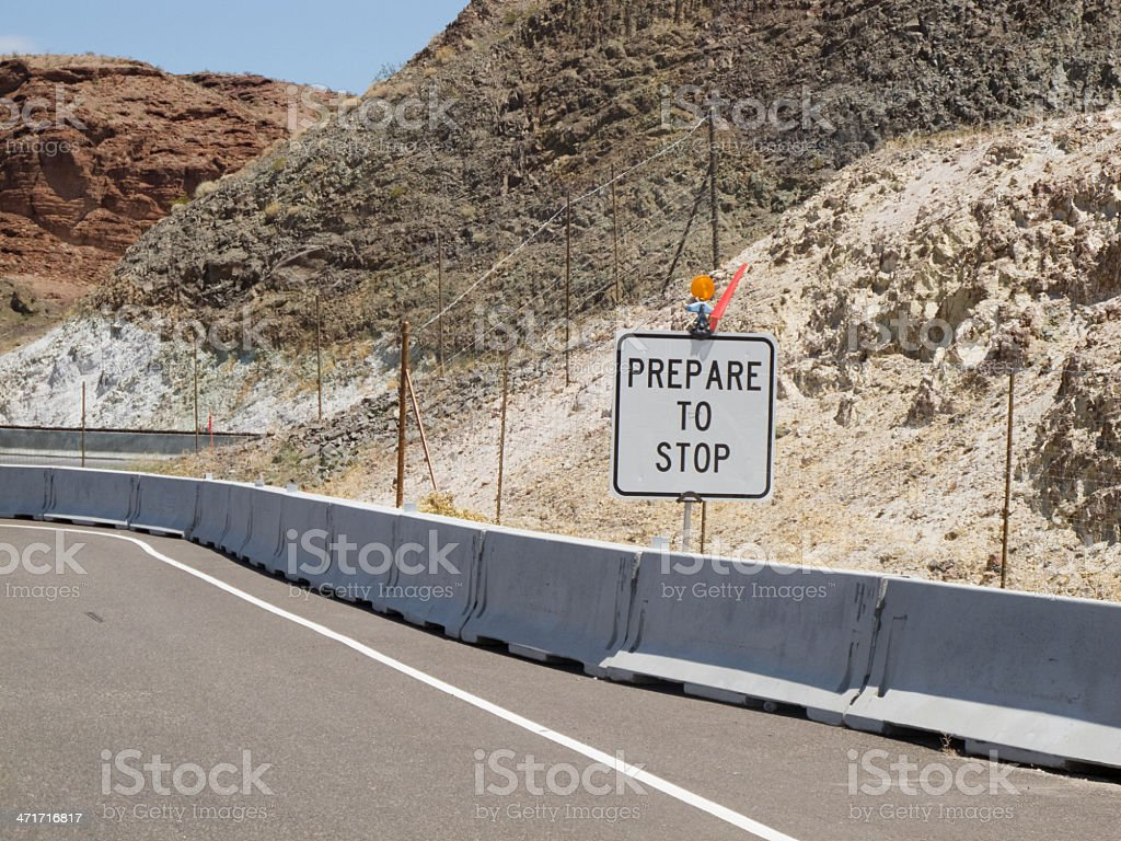 Road construction on a highway through the Nevada Desert royalty-free stock photo