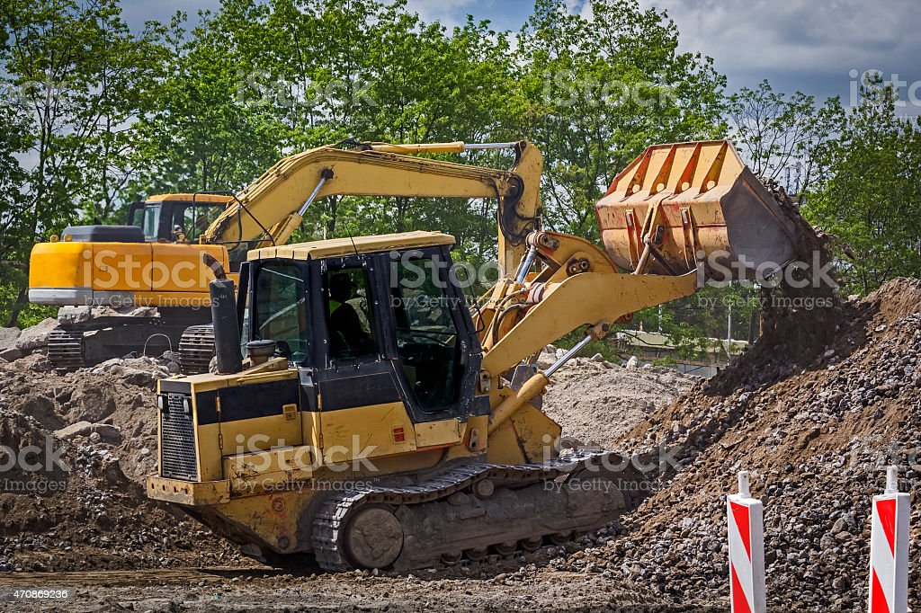 Road construction - on site stock photo
