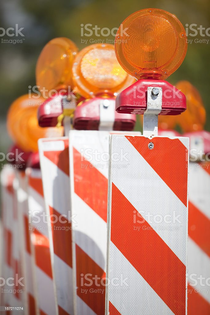 Road Construction Safety Barricades stock photo