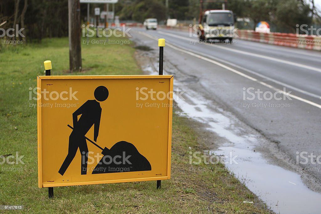 Road construction sign and street royalty-free stock photo