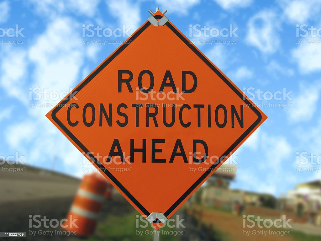 Road construction sign. stock photo