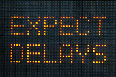 Road construction sign telling motorists to expect delays