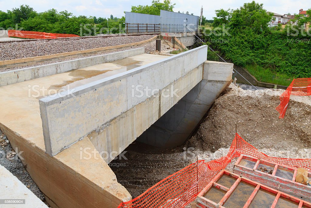 Road construction site stock photo