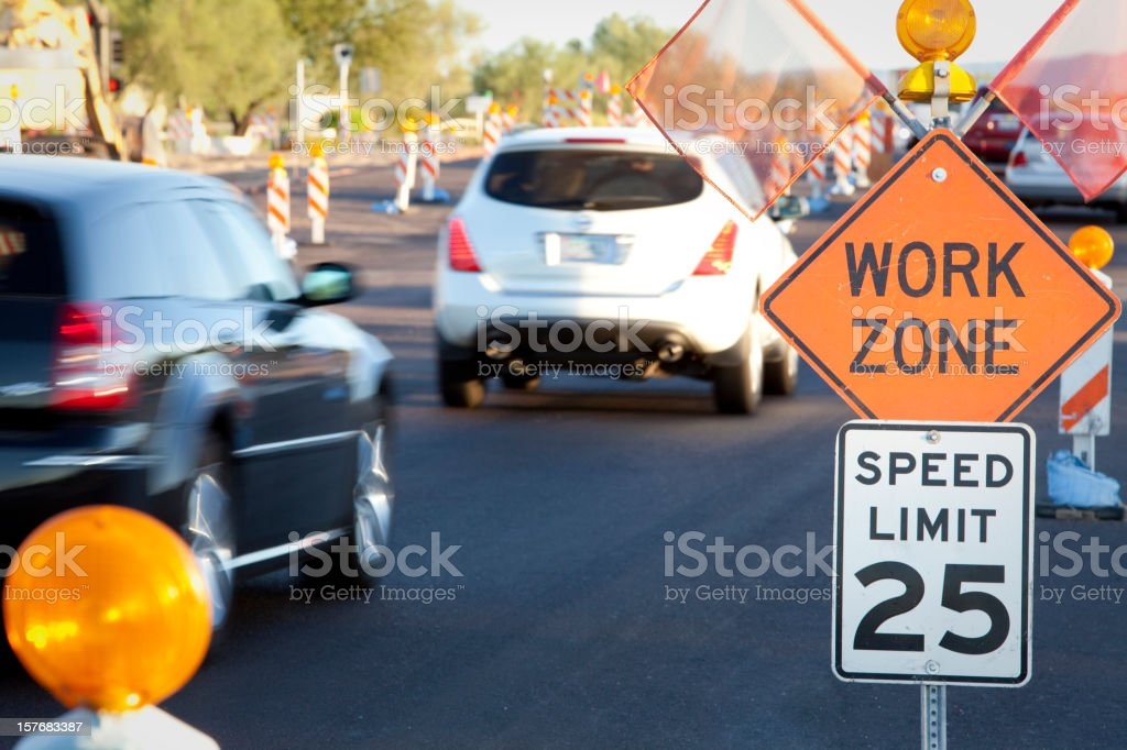 Road Construction Work Zone at Rush Hour stock photo