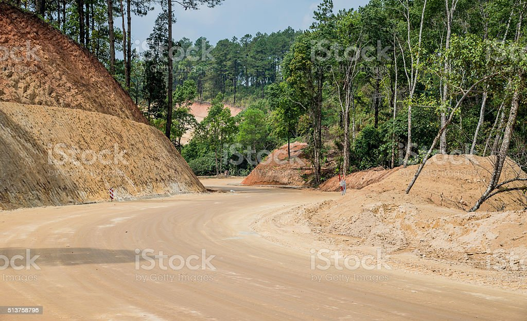 Road construction,Dirt road,New road surface. stock photo