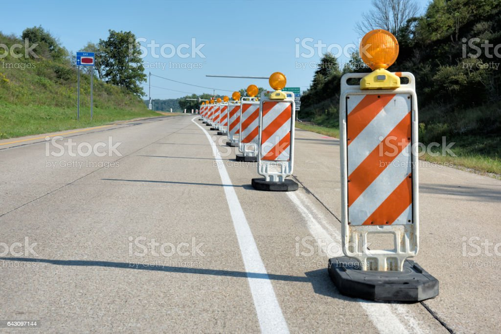 Road Contruction Warning Safety Signs and Reflectors stock photo
