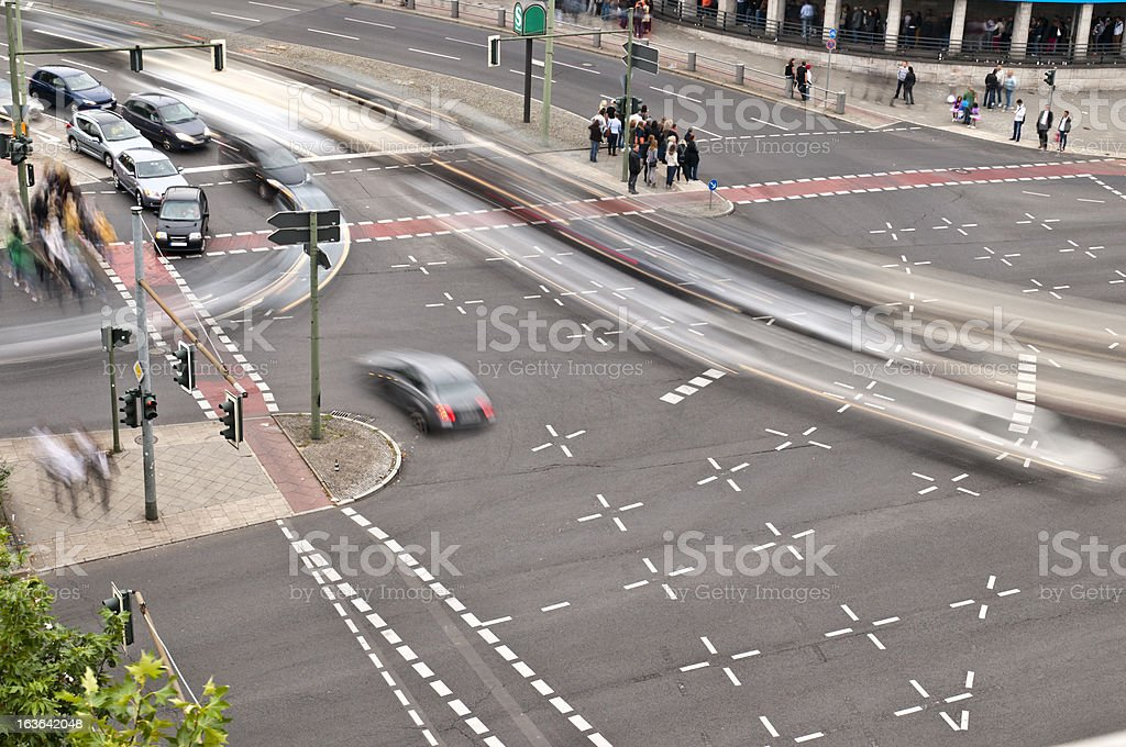 Road crossing from above stock photo