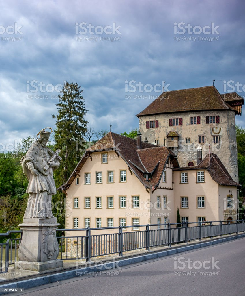 Road crossing from Switzerland into Germany stock photo