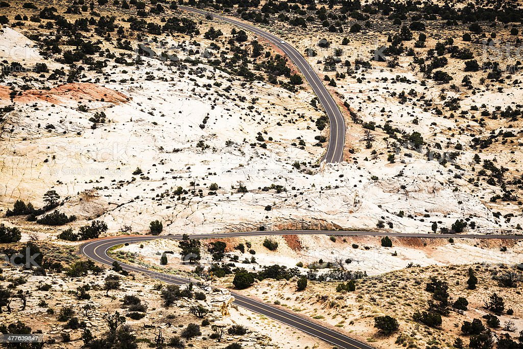 Road Crossing the Desert, Route 550, The million dollar Highway stock photo