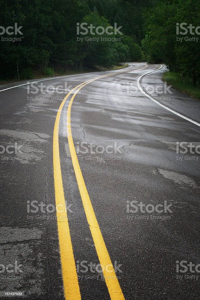 road curve forest landscape stock photo