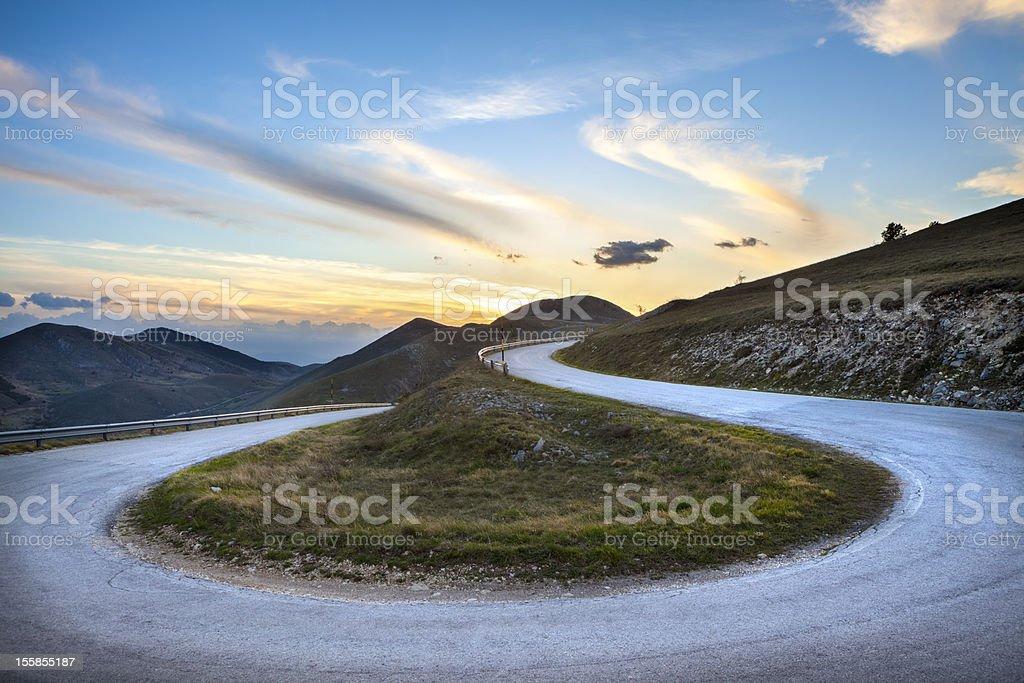 Road curve near Campo Imperatore, Abruzzi Italy stock photo