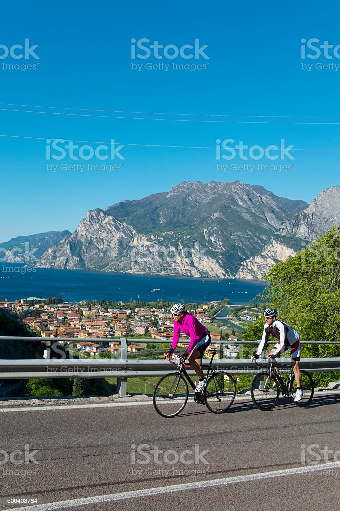 road cycling on garda lake stock photo