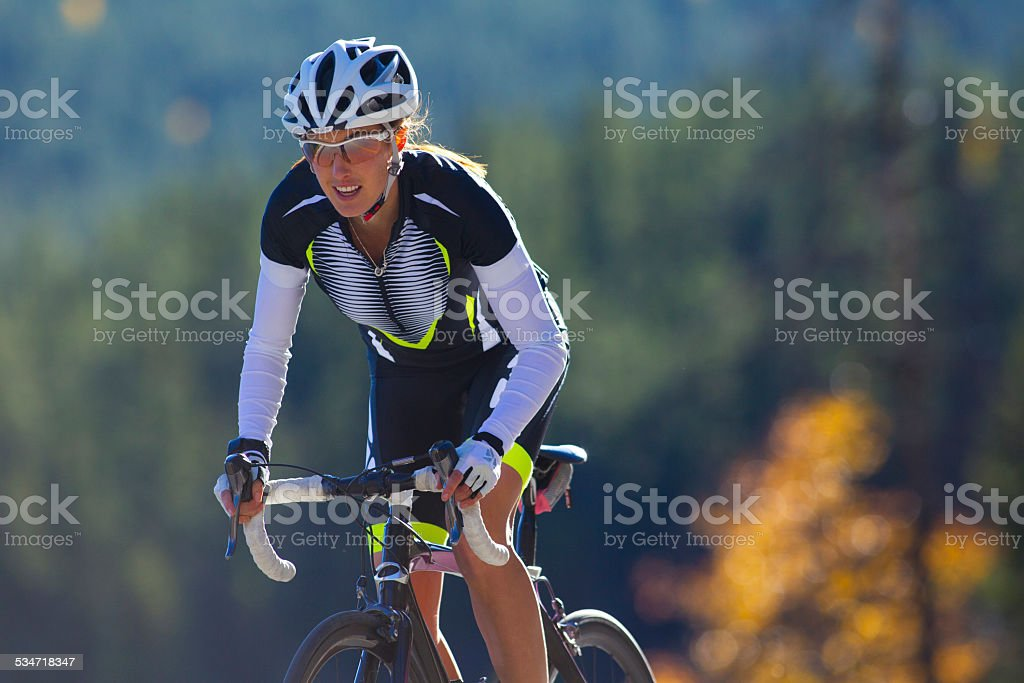 Road Cyclist Girl stock photo