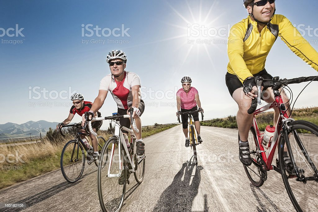Road Cyclists Riding Together stock photo