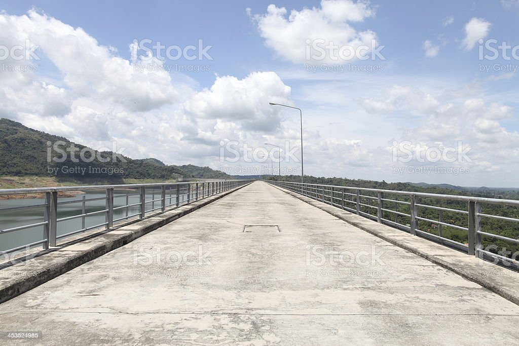 Road dam ridge on summer in Thailand stock photo
