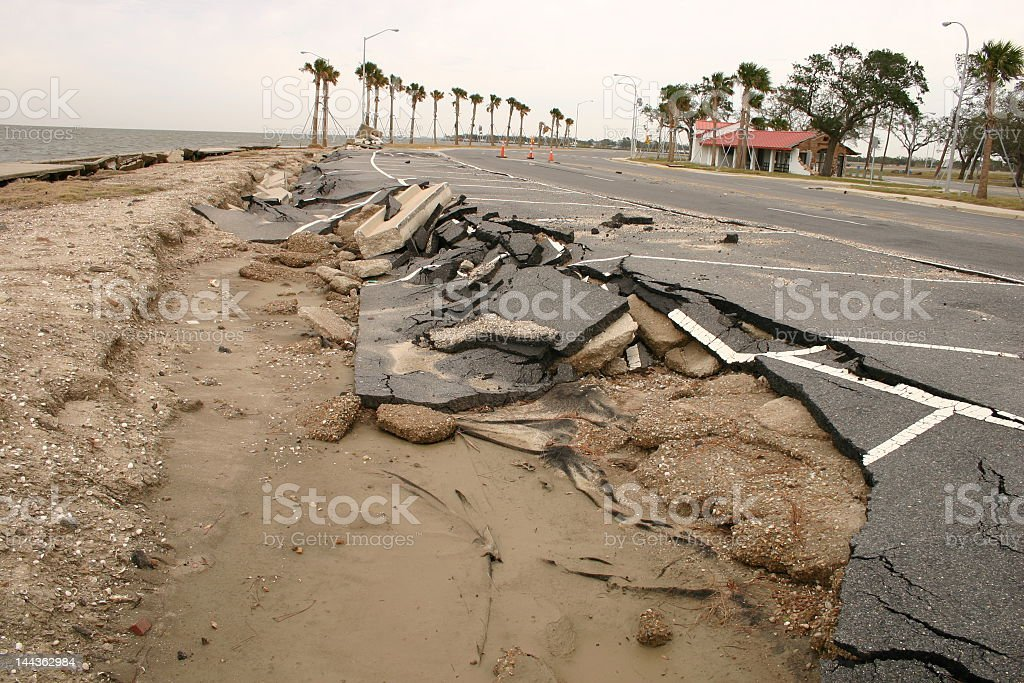 Road damage done by Hurricane Katrina stock photo