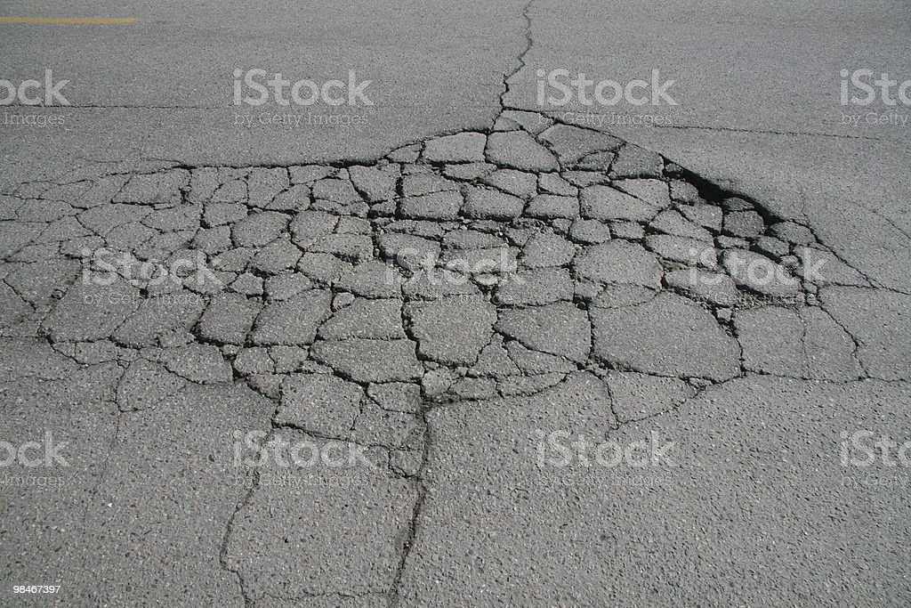 Road damage royalty-free stock photo